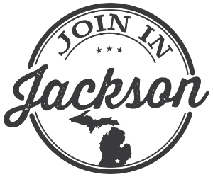Join in Jackson Logo - state of michigan with star plus stylized name