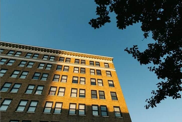 Jackson Michigan building with sunset