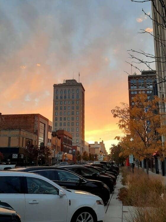 Jackson Michigan Downtown sunset