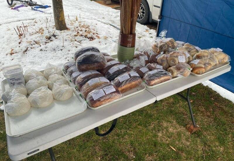 DoughNation Bakery in Jackson MI - front yard table