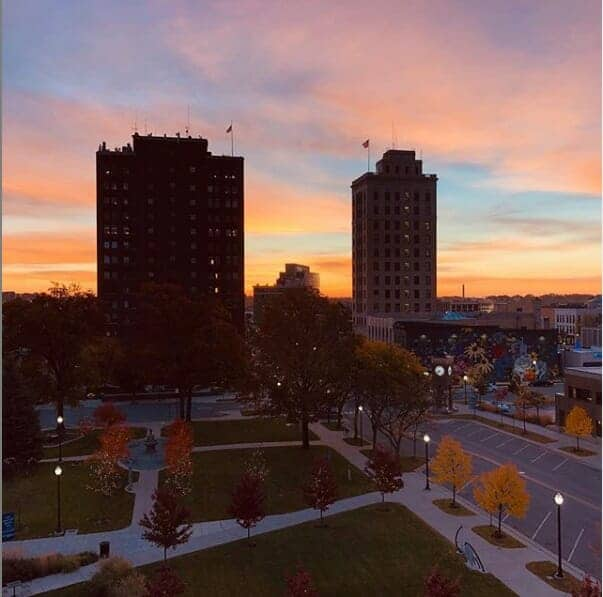 Downtown Jackson Michigan sunrise