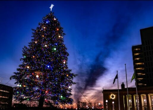 Christmas tree and lights in downtown Jackson Michigan
