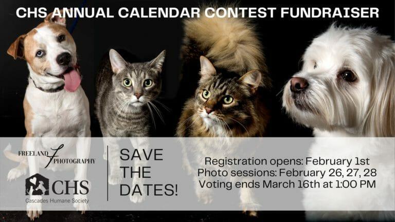 Cascades Humane Society calendar graphic
