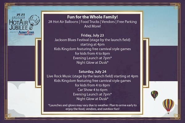 2021 jackson hot air jubilee schedule of events in jackson michigan