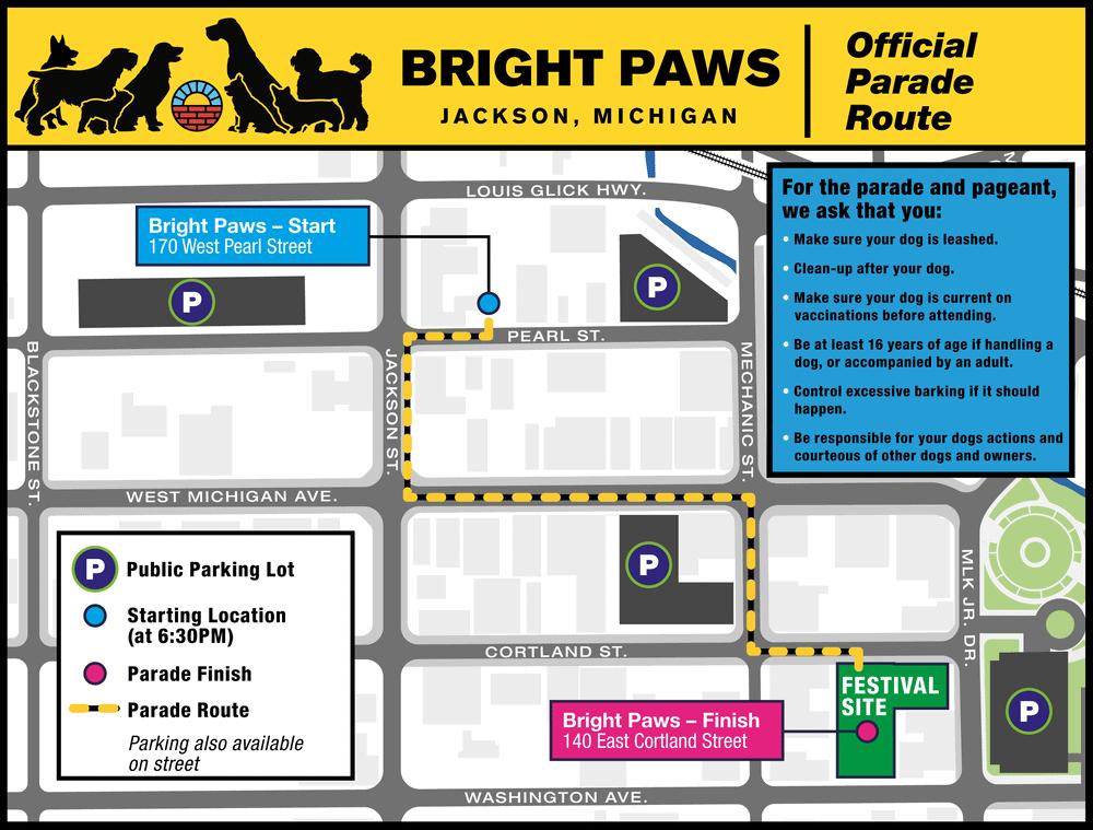 Bright Paws Parade Map
