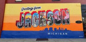 Greetings from Jackson Michigan murals - part of Bright Walls Jackson